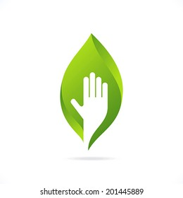 ecological symbols and signs,human's hands and green growing plants