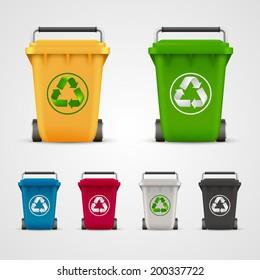 Ecological trash set, Trash icons color Vector illustration