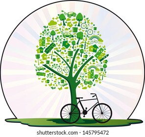 Ecological tree. Tree containing several elements for a living environmentally friendly and even a bicycle.