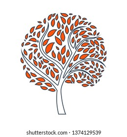Ecological Tree With Leaves Icon. Thin Line With Red Fill Design. Vector Illustration.