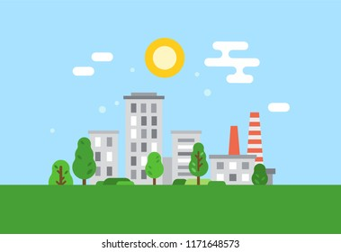 Ecologically clean city, environmental protection, careful attitude to natural resources, water sources, use energy generators, clean city, landscapes, preservation of ecology. Vector illustration.