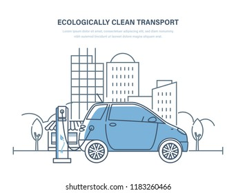 Ecologically clean transport. Electric car, machine, charging at gas station, clean transport. Urban landscape with high-rise buildings skyscrapers, landscape, trees. Illustration thin line design.