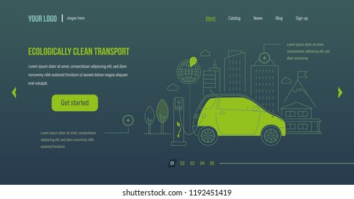 Ecologically clean transport. Ecologically clean mode of transport, electric car, machine near the charging station. Landscape with high-rise skyscrapers. Website template design. Vector illustration.