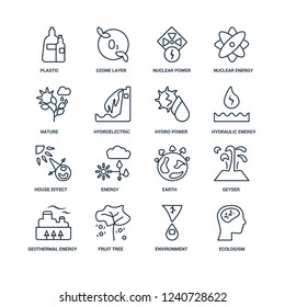 Ecologism, Environment, Fruit tree, Geothermal Energy, Geyser, Plastic, Nature, house effect, Hydro power outline vector icons from 16 set