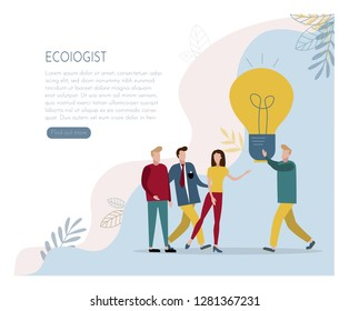 The ecologist proposes his idea. Vector picture. Elements for design