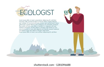 An ecologist studies nature. Caring for the environment. Vector illustration. Elements for design