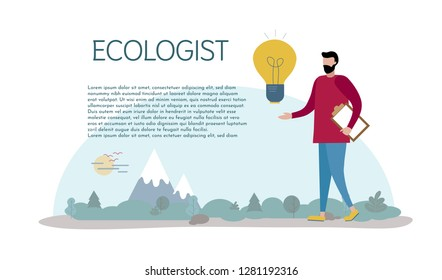 An ecologist studies nature comes up with ideas. Caring for the environment. Vector illustration. Elements for design