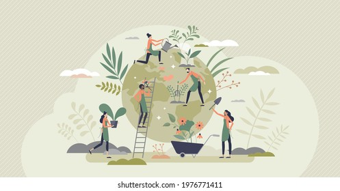 Ecology agriculture and green sustainable harvesting tiny person concept. Environmental gardening and food farming around globe with responsible care vector illustration. Nature care process scene.