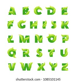 Ecology alphabet letters with green leaves.