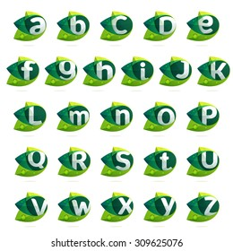 Ecology alphabet letters with leaves set. Vector design template elements for your application or corporate identity.