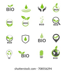 ecology and bio in green icons set vector