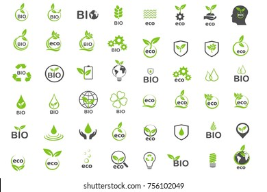 ecology and biology in green save world save life icons set vector