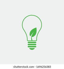 ecology blub and leaf vector icon renewable energy concept icon