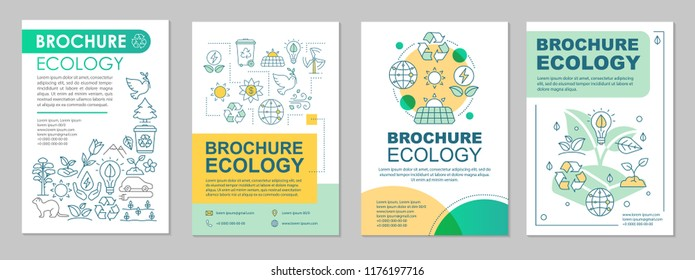 Ecology brochure template layout. Environment protection. Flyer, booklet, leaflet design with linear illustrations. Saving planet. Vector page layouts for magazines, annual reports, advertising poster