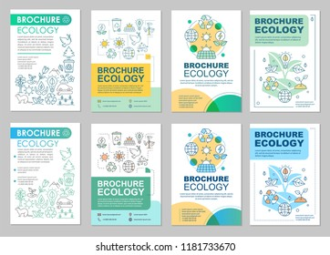 Ecology brochure template layout. Environment protection. Flyer, booklet, leaflet print design with linear illustrations. Saving planet. Vector pages for magazines, annual reports, advertising posters