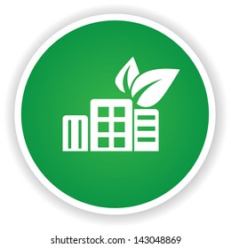 Ecology building symbol on green button,vector