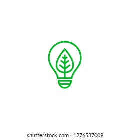 Ecology bulb lamp with leaf logo. Save energy, plant and nature concept.  Vector.