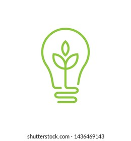 Ecology bulb lamp with leaf logo. Energy saving lamp symbol, icon. Eco Friendly, Eco world, green leaf, energy saving lamp symbol.