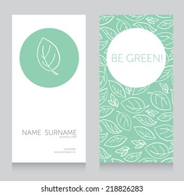 ecology business card, vector illustration