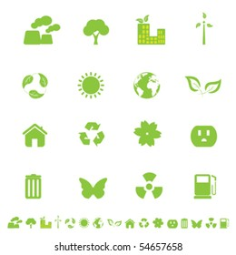 Ecology and clean environment related symbols and objects
