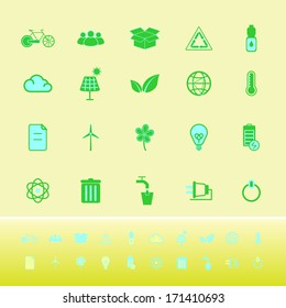 Ecology color icons on yellow background, stock vector