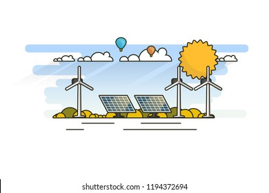Ecology Concept, Banner Template in Flat Style. Vector Illustration. Solar Panels and Wind Turbines, Green Energy Technology.