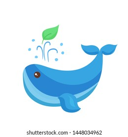 Ecology concept - cartoon style blue whale with green leaf symbolizing eco-friendly lifestyle. Ecological problem of plastic ocean and sea pollution. Environmental Protection illustration concept.