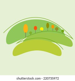 Ecology concept with earth and colorful autumn trees and meadows on picturesque hells. Logo template isolated on light green background