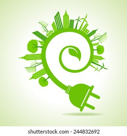 Ecology Concept - eco cityscape with leaf and electric plug stock vector