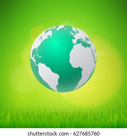 Ecology concept eco friendly and save the earth with grass. vector illustration.