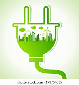 Ecology concept with electric plug - vector illustration