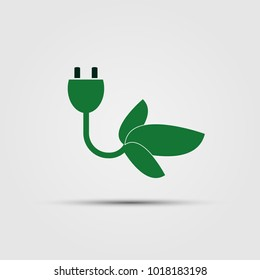 Ecology concept with electric.green power plug- vector illustration