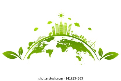 Ecology concept and Environmental ,Banner design elements for sustainable energy development, Vector illustration