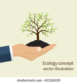 Ecology concept. Environmental protection. Tree in hand. Tree with soil in hands human. Vector illustration flat design