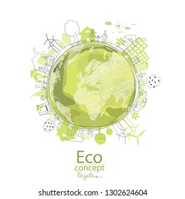 Ecology concept. Environmentally friendly world. Creative drawing on global environment with happy family stories. Info graphics. Icon. Vector illustration of handwriting. Doodle Minimal Style.