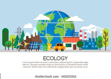 Ecology concept in flat stile. Horizontal colorful web banner with big globe, nature, alternative fuel, electric car. Green energy and green lifestyle. Can used for info graphic, web banners.