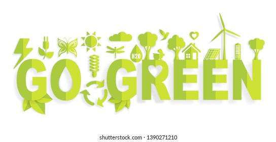 Ecology concept with Go Green words in the center for graphic and web design, paper cut style vector illustration
