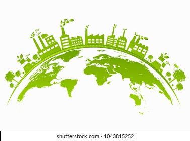 Ecology concept with green city on earth