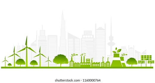 Ecology concept with green city on earth. sustainable development World environment concept, vector illustration