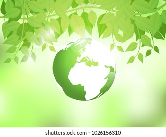 Ecology concept ,Green Earth on Nature green background with green spring leaves. on sunshine and bokeh. Vector illustration.