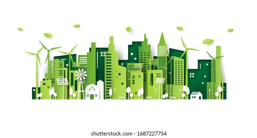 Ecology concept with green eco city background.Environment conservation resource sustainable.Vector illustration.