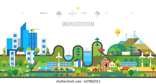 Ecology concept. Green ecosystem. Modern city and developed agriculture