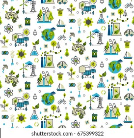 Ecology concept, green energy, ecology problem and alternative fuel seamless pattern in modern flat line style.