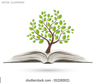 Ecology concept, Green paper tree growing from an open book, Vector illustration modern design template