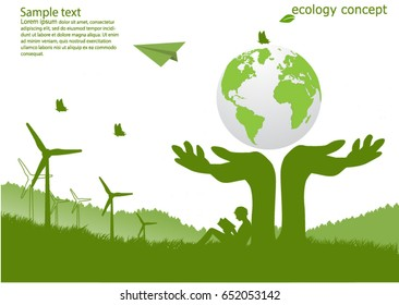 Ecology concept ,Hand protection global Environmentally friendly world. Vector illustration