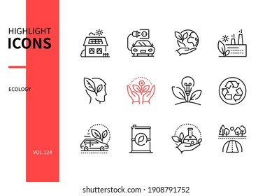 Ecology concept - line design style icons set. Eco lifestyle and environment conservation idea. Low energy house, electro car, save the planet, recycling, global research, wildlife research symbols