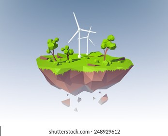 Ecology concept with low poly island with windmills trees and grass vector illustration