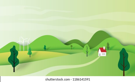 Ecology concept and nature landscape scenery with house and mountains paper art style design.Vector illustration.