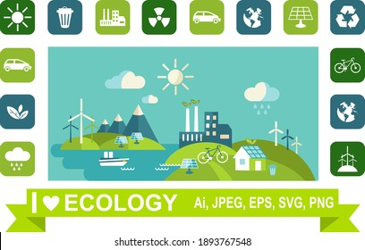 Ecology concept panoramic landscape with green city on earth. Vector illustration Energy ideas save the world concept green socket.  Landscape with buildings, trasport and nature ecology elements