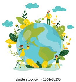 Ecology concept. People take care about planet ecology. Protect nature and ecology banner. Earth day. Globe with trees, plants and volunteer people. Vector illustration